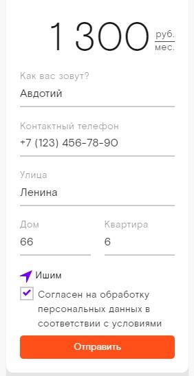 Поля для заполнения контактной информации