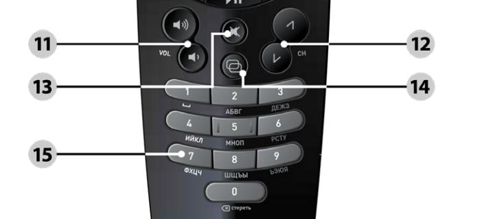 Нижний блок кнопок пульта Ростелеком